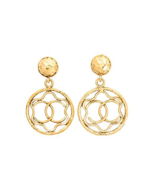 Chanel Vintage   Женское Желтый Logo Hoop Clip-On Earrings