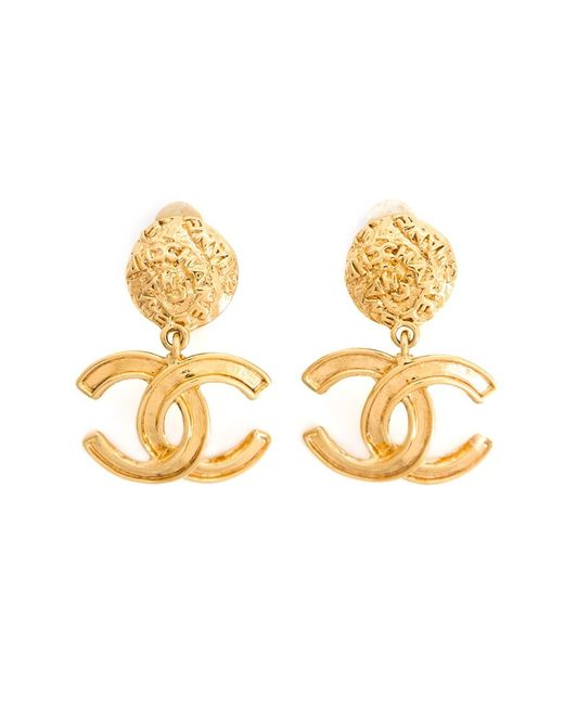 Chanel Vintage | Женское Желтый Logo Clip-On Earrings