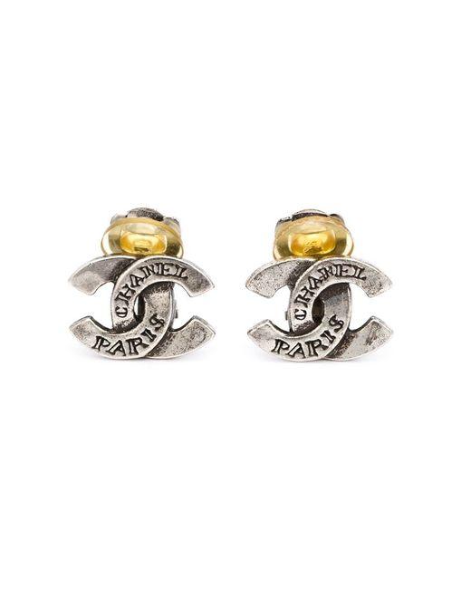 Chanel Vintage   Женское Серый Logo Clip-On Earrings