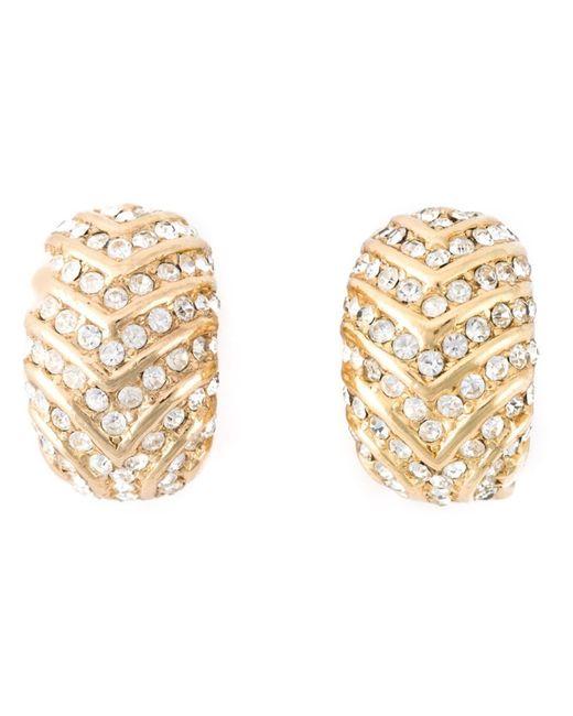 Dior | Женские Серебристые Серьги С Кристаллами