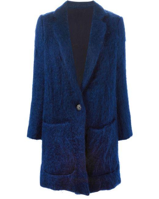 MSGM | Женское Синее Однобортное Пальто
