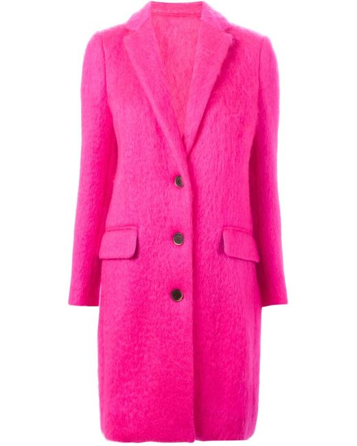 MSGM   Женское Розовое Однобортное Пальто