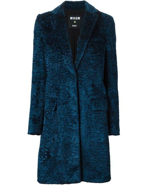MSGM | Женское Синее Каракулевое Пальто