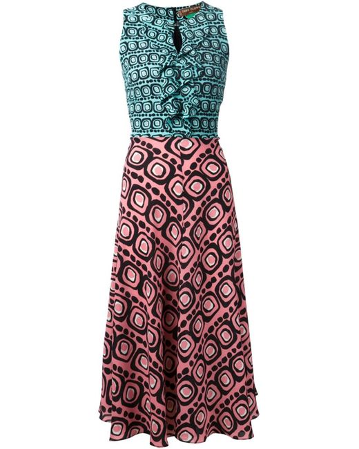 Duro Olowu | Женское Синее Платье Со Сплошным Принтом