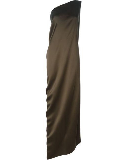 Maison Rabih Kayrouz | Женское Коричневое Длинное Платье На Одно Плечо