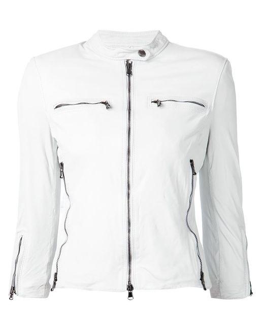 R13 | Женская Белая Классическая Кожаная Куртка