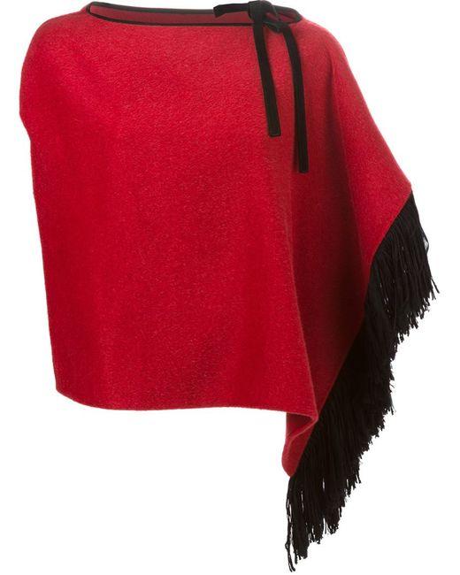 Dolce & Gabbana | Женская Красная Накидка С Бахромой