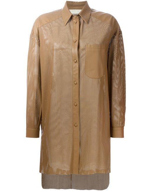 Drome | Женская Коричневая Куртка-Рубашка С Лазерной Перфорацией
