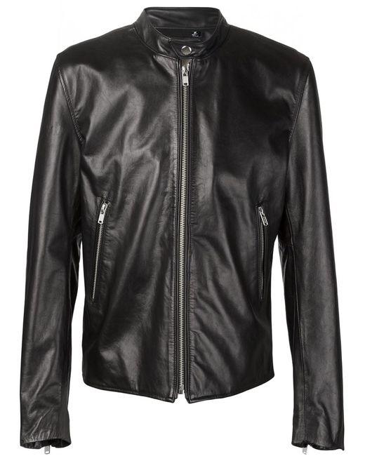 Blk Dnm   Мужское Чёрный Band Collar Zipped Jacket