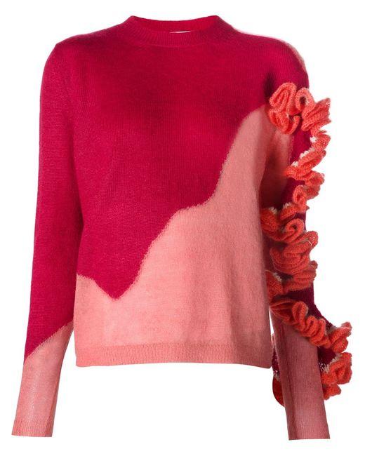 Delpozo | Женское Красный Ruffle Detail Knit Sweater