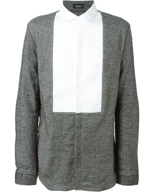 Dsquared2 | Мужская Серая Рубашка С Контрастным Нагрудником