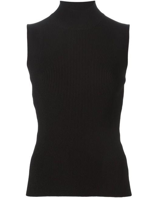Cedric Charlier | Женское Чёрный Ribbed Turtle Neck Sleeveless Sweater