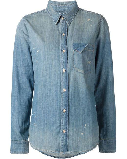 Mother | Женское Синий Distressed Denim Shirt