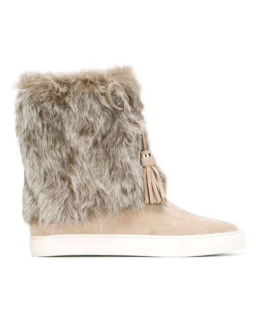Tory Burch   Nude & Neutrals Fur Trimmed Boots