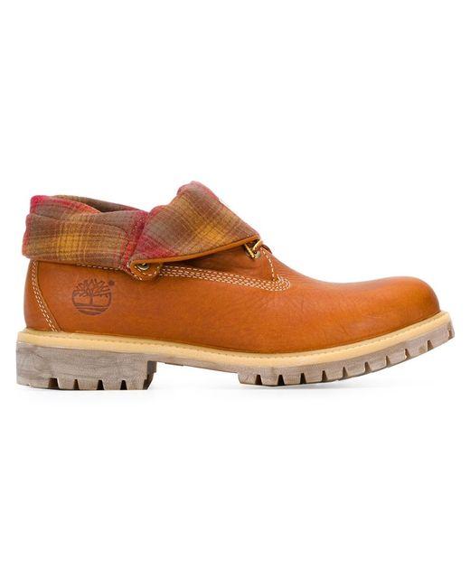 Timberland | Мужские Коричневые Ботинки С Отворотом В Клетку