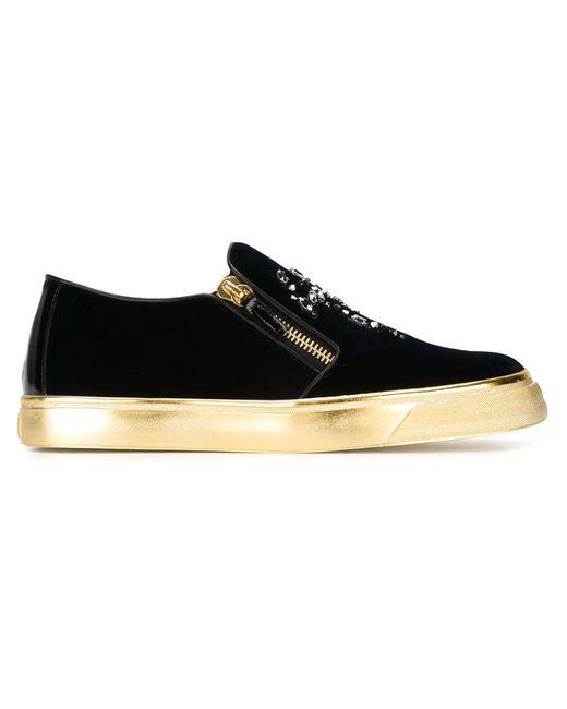 Giuseppe Zanotti Design | Синий Zip Detail Velvet Sneakers