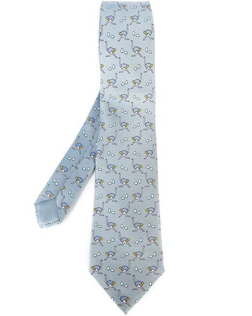 Hermès Vintage   Мужское Серый Ostrich Motif Tie