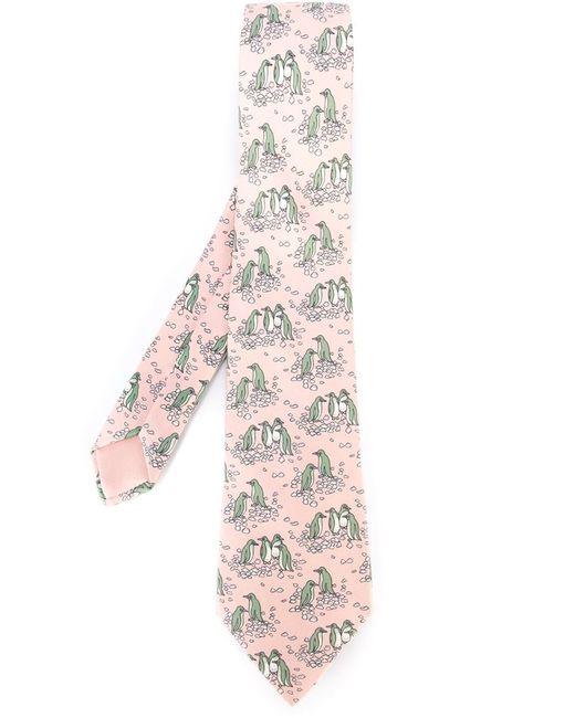 Hermès Vintage | Мужской Розовый Галстук С Принтом Пингвинов