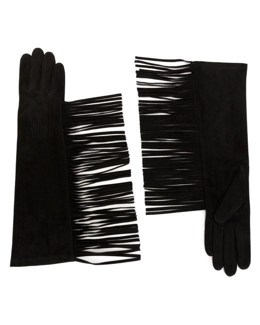 Lanvin | Женское Чёрный Fringed Long Gloves