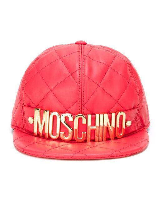 Moschino | Красная Стеганая Кепка