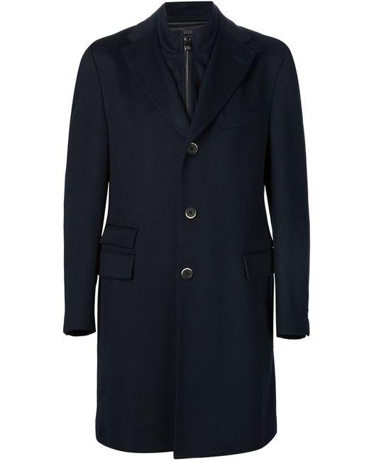 Corneliani | Мужское Чёрное Пальто С Вставкой На Молнии Identity