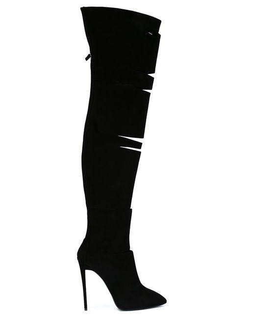 Giuseppe Zanotti Design | Чёрные Ботфорты С Вырезными Деталями