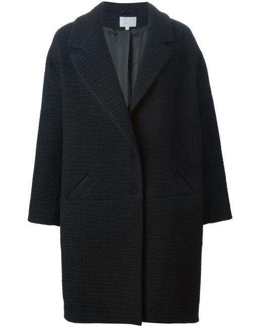 Lala Berlin   Женское Чёрное Тканое Пальто Мешковатого Кроя