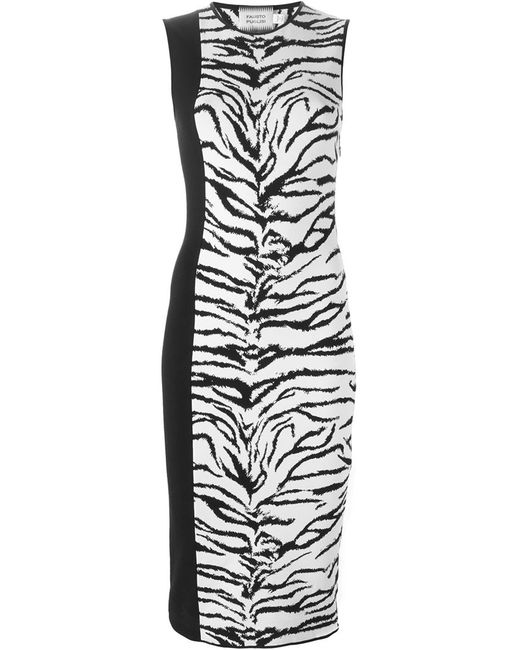 Fausto Puglisi | Женское Белый Tiger Intarsia Knit Fitted Dress