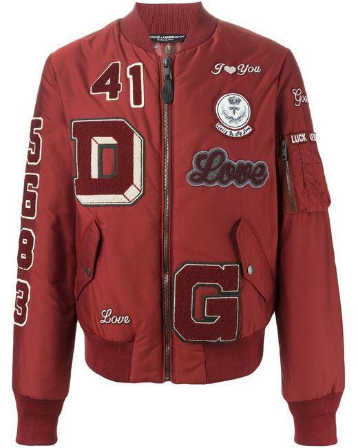 Dolce & Gabbana | Мужская Красная Куртка-Бомбер С Нашивками