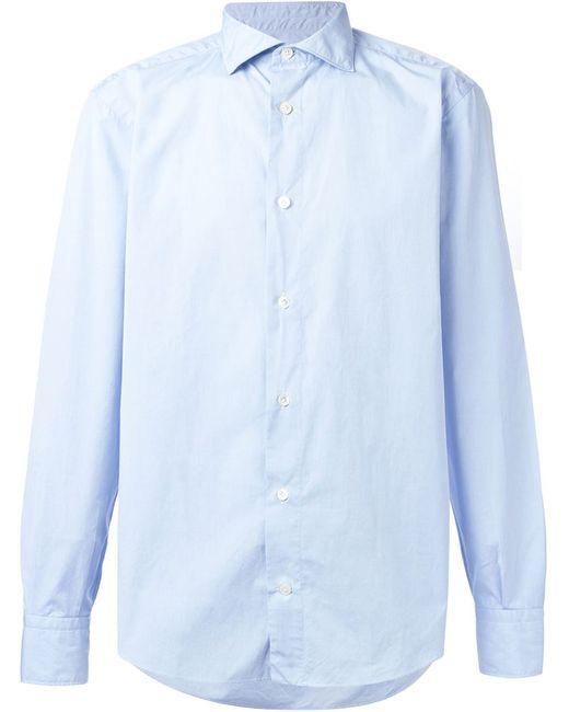 Eleventy | Мужская Синяя Классическая Рубашка На Пуговицах