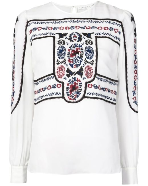 Veronica Beard | Женская Белая Блузка С Вышивкой