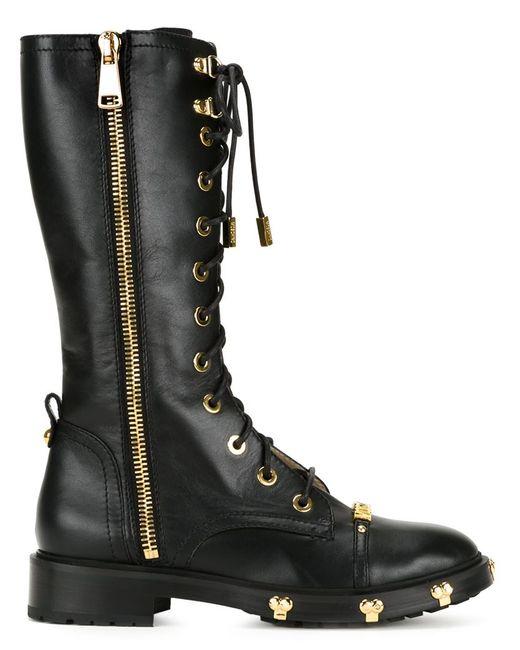 Moschino   Женские Чёрные Ботинки В Стиле Милитари