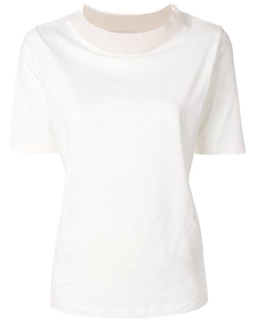 Fabiana Filippi   Белый Contrast Collar T-Shirt Women