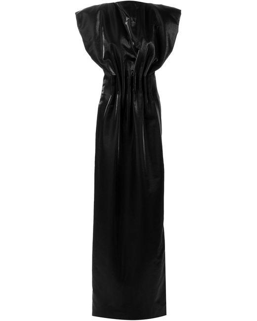 ZAID AFFAS | Женское Чёрное Вечернее Платье С Присборенной Талией