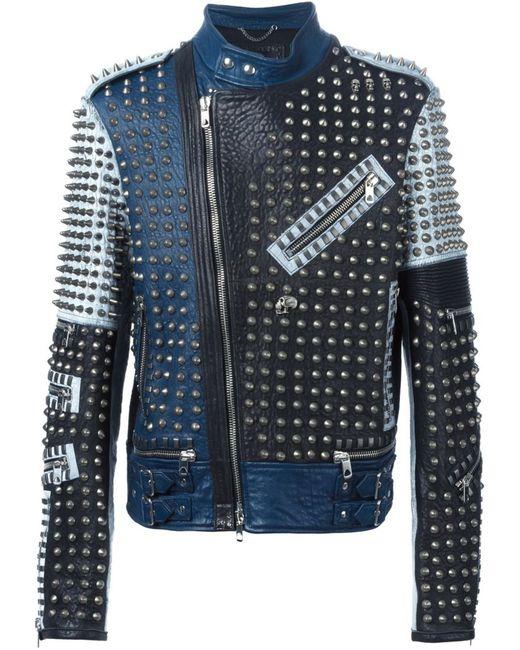 Diesel Black Gold   Мужская Синяя Байкерская Куртка С Панельным Дизайном