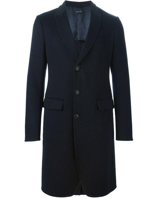 Giorgio Armani | Мужское Синее Однобортное Пальто
