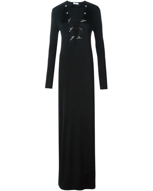 Mugler | Женское Чёрное Облегающее Платье C V-Образным Вырезом