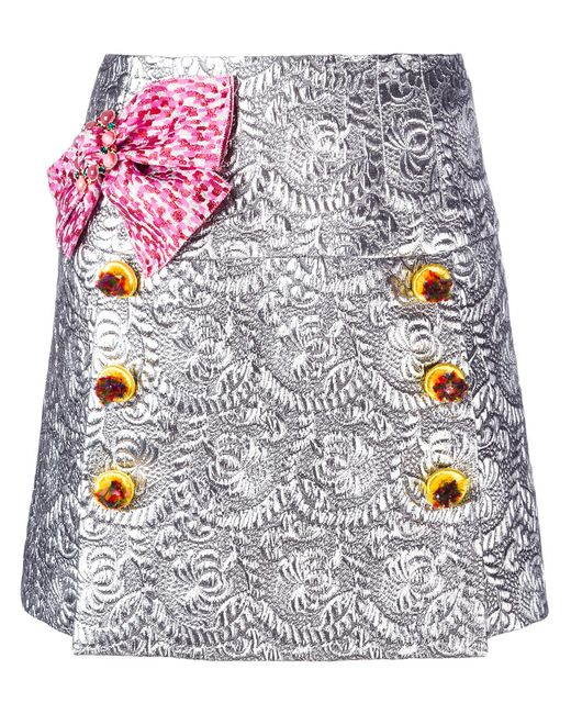 Dolce & Gabbana | Женская Серая Парчовая Мини Юбка