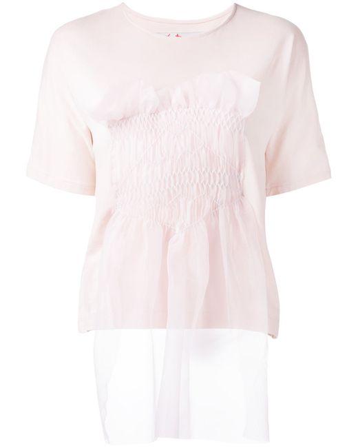 Jenny Fax   Женское Розовый Tulle Smocked T-Shirt Size Medium
