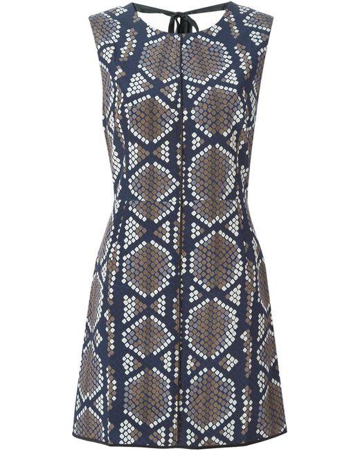 Marc Jacobs   Женское Синее Платье С Панельным Дизайном И Принтом