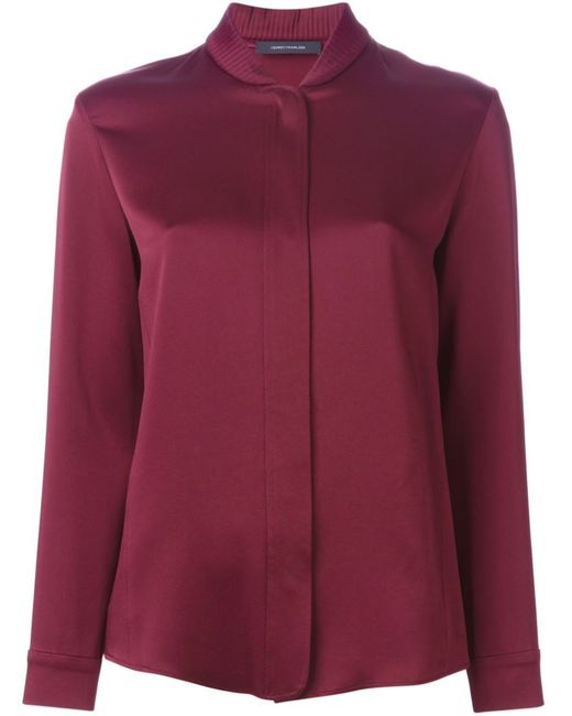 Cedric Charlier | Женская Красная Блузка С Воротником В Рубчик