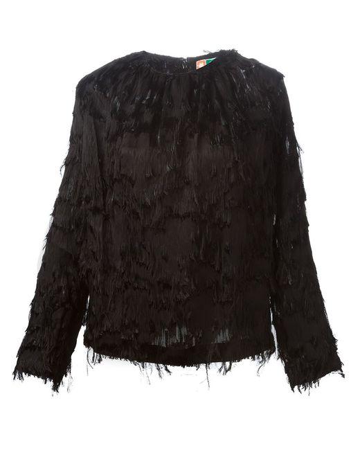 MSGM | Женская Чёрная Блузка С Бахромой