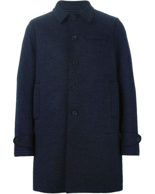 Harris Wharf London | Мужское Синее Однобортное Пальто