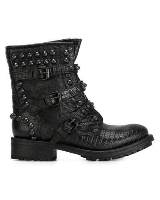 Ash | Женские Чёрные Байкерские Ботинки Reese
