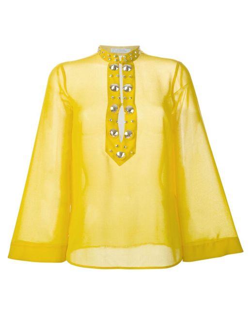 Versace Collection | Женская Жёлтая Блузка С Крупными Заклепками