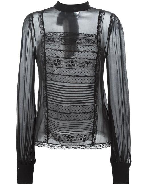 Ermanno Scervino | Женская Чёрная Прозрачная Блузка С Кружевной Отделкой
