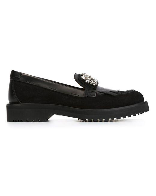 Carshoe | Женское Чёрный Embellished Fringed Loafers