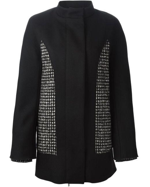 Moncler Gamme Rouge | Женское Чёрное Пальто С Панельным Дизайном