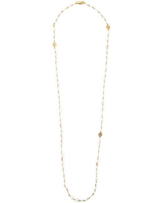 Tory Burch | Женское Белый Pearl And Logo Necklace