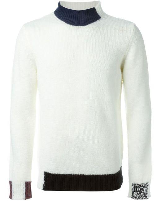 Raf Simons   Мужское Белый Contrasting Trims Sweater